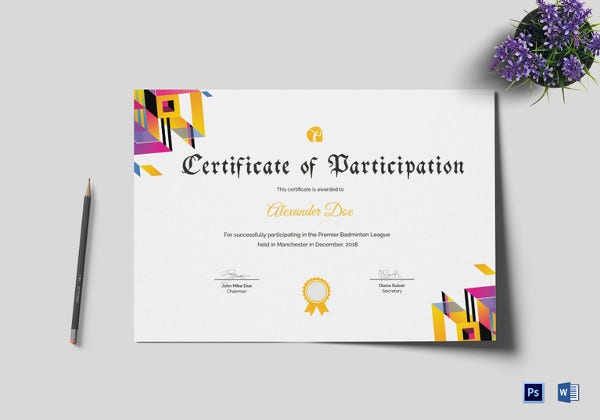 innovative badminton participation certificate