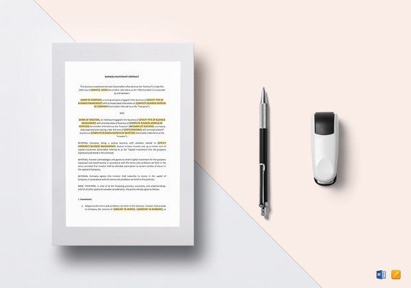 investment contract template in google docs