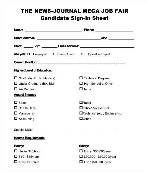 job fair candidate sign in sheet