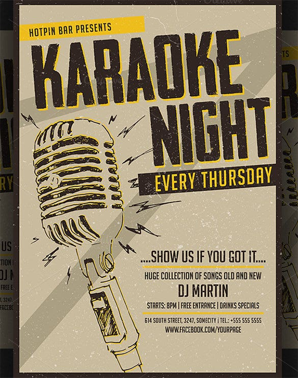 karaoke night premium poster template