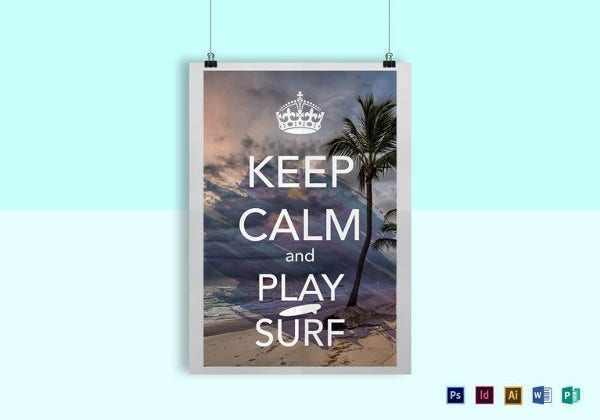 keep calm and surf poster template