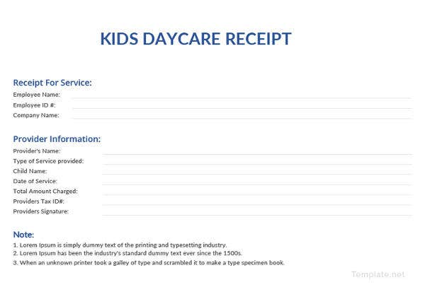 kids daycare receipt template1