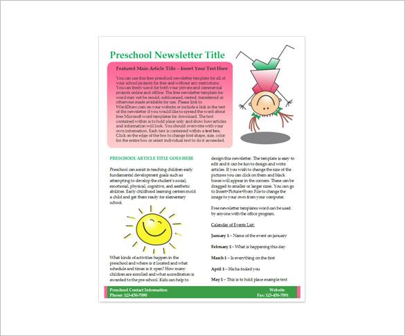 kids preschool newsletter template