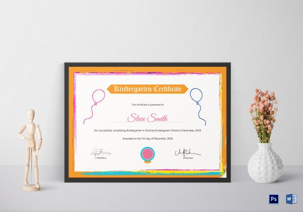 kindergarten school certificate template
