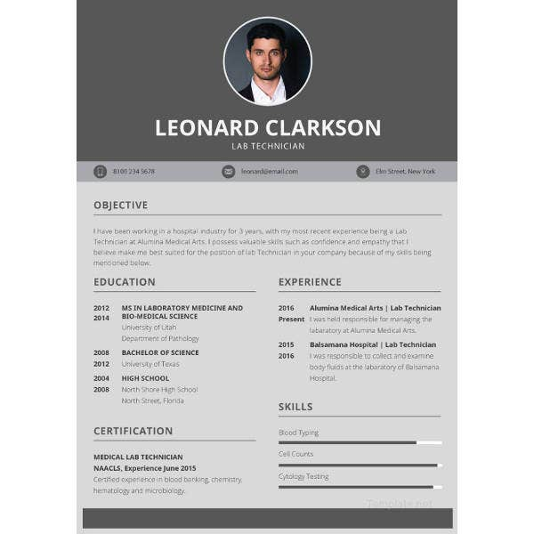 lab technician resume psd template
