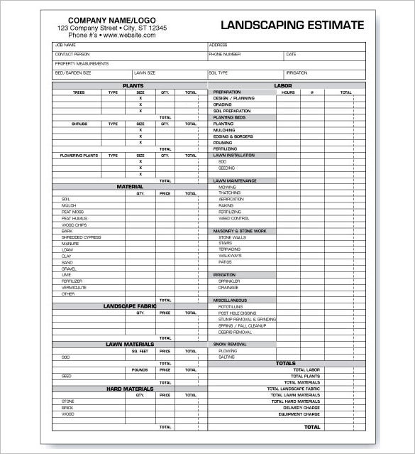 Landscaping Estimate Templates  Free Word Excel  Pdf