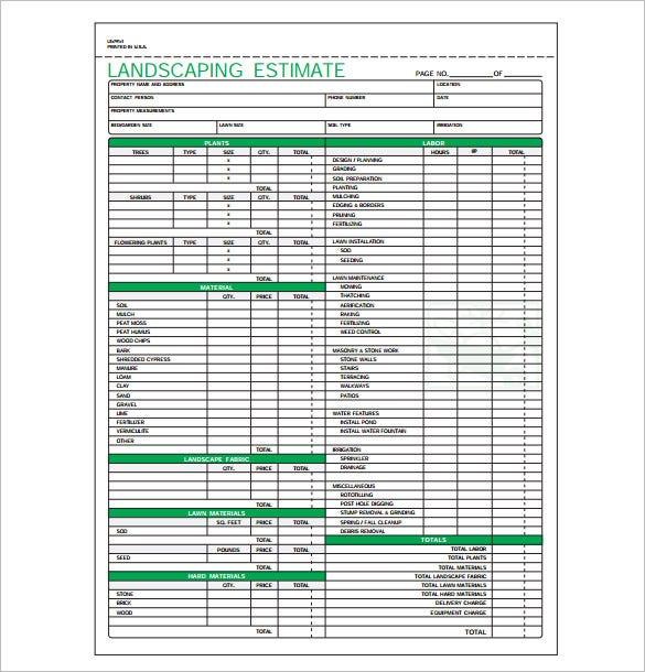 Landscaping Estimate Templates  Free Word Excel  Pdf Documents