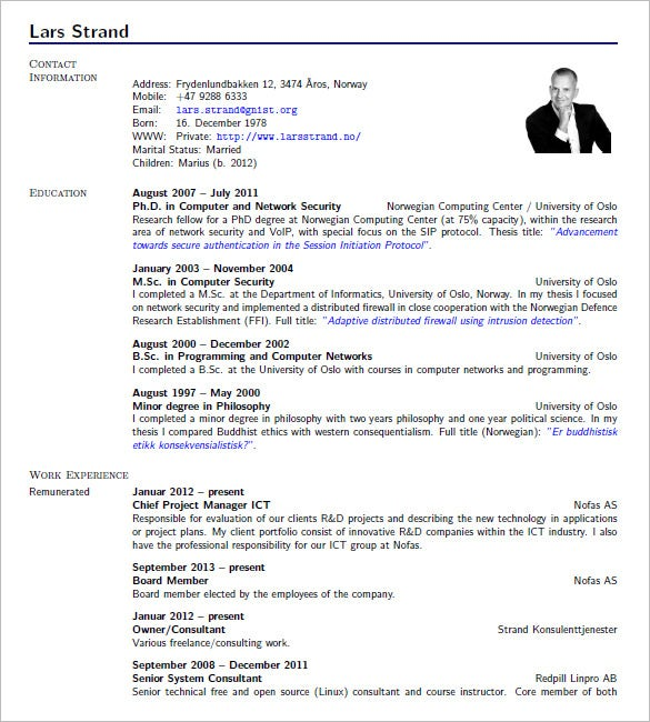 latex resume template profesional - Full Resume Sample