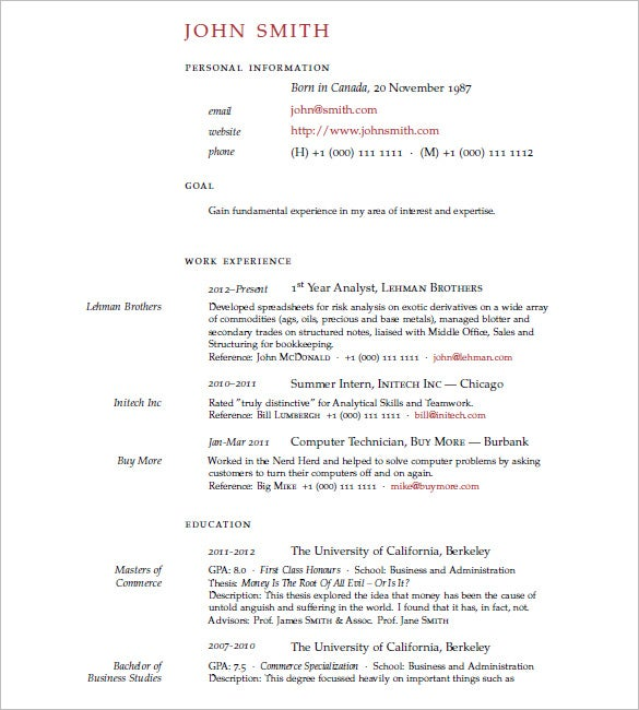 Latex Resume Template For Free Download