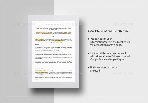 lawn service contract template in word ipages