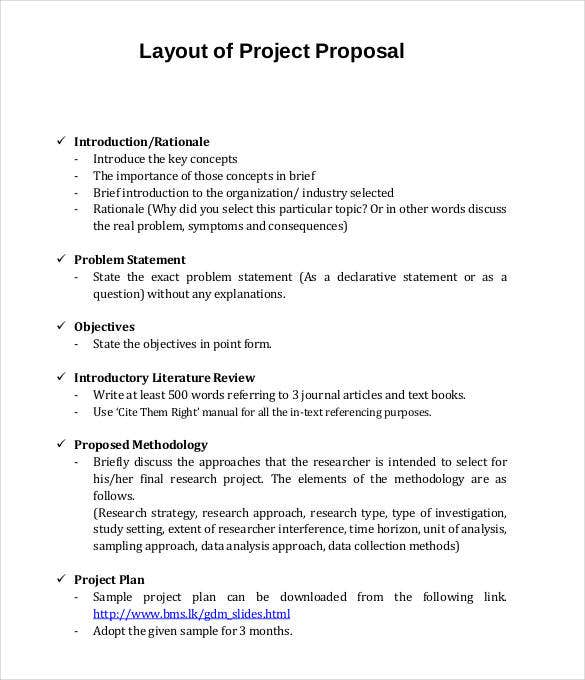 layout of project proposal