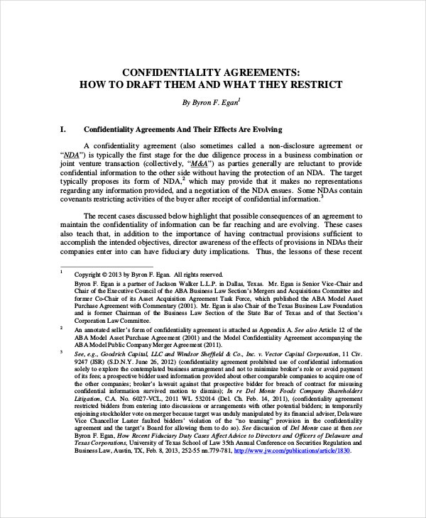 legal confidentiality agreement for business