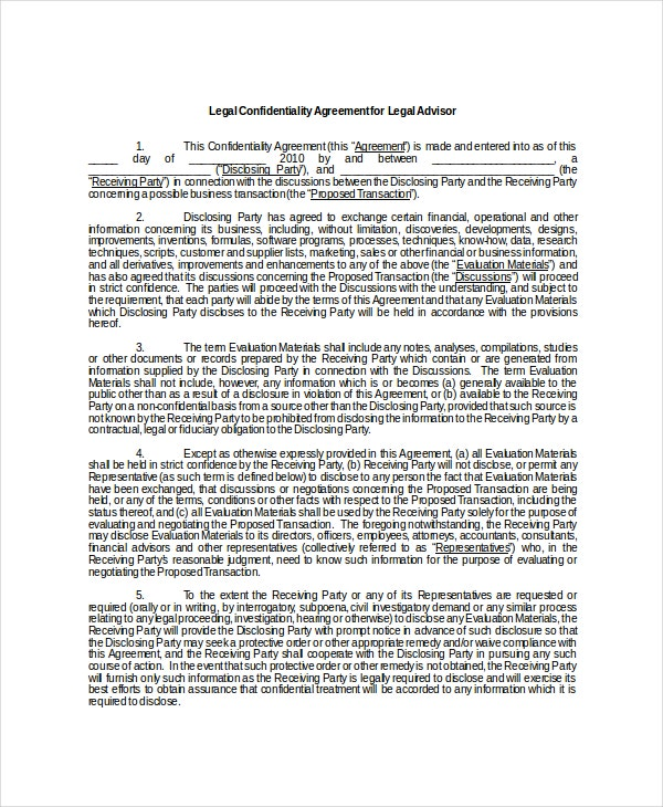 legal confidentiality agreement for legal advisor1
