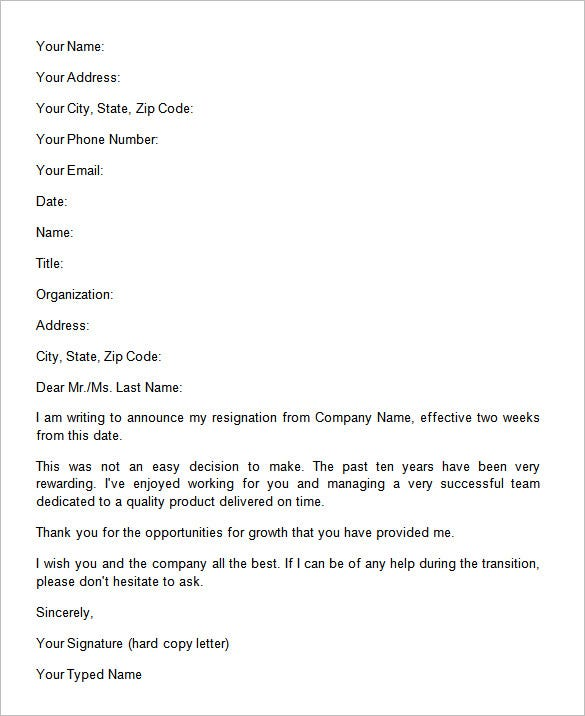 34 Two Weeks Notice Letter Templates Pdf Google Docs Ms Word
