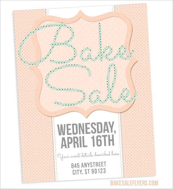 light coloured bake sale flyer template