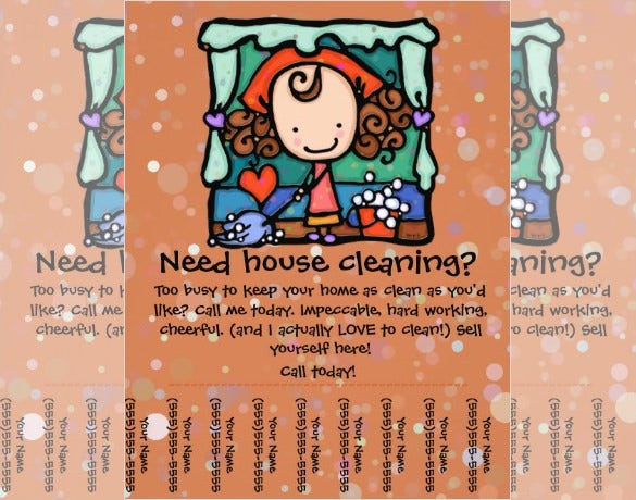 Little Girlie Promotes Her Housecleaning Business Custom Flyer U2013 $0.95