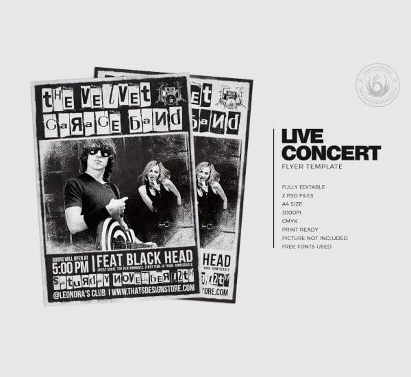 live concert flyer poster template
