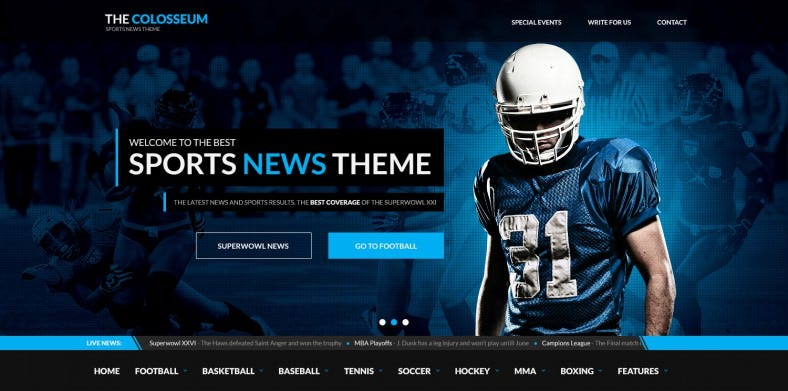 Live Results Box Integrated Sports Magazine PSD Template