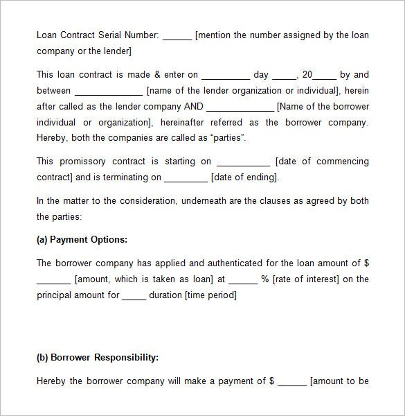 Loan Contract Templates   Free Word Excel Documents Download Free 3kCScgOC