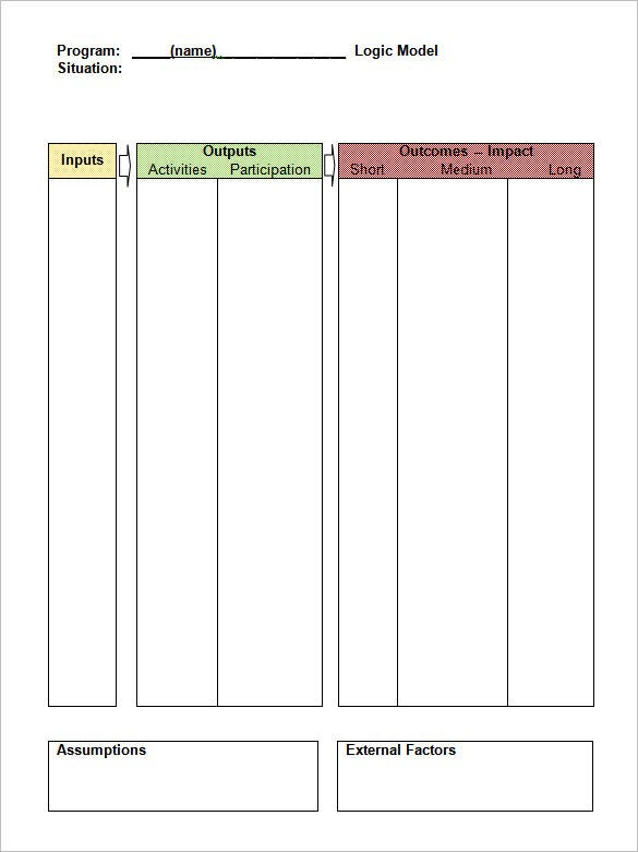 logic model table format word document
