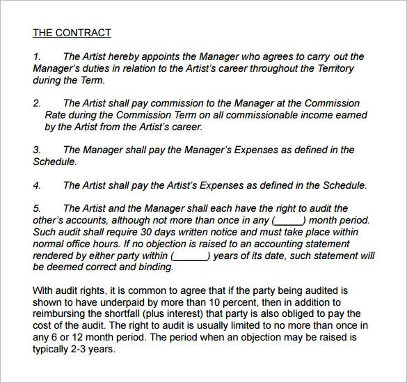 long term artist management contract template example