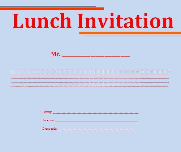 Free Lunch Invitation Template In Word  OrderecigsjuiceInfo
