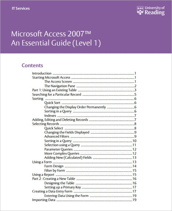 access 2007 tutorials for beginners pdf