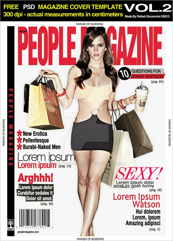 magazine cover psd template download