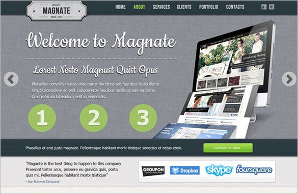 magnate free psd website template