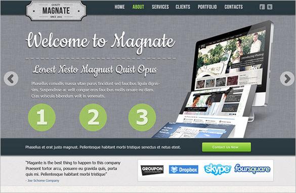 magnate free psd website template