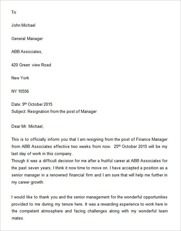 Manager Resignation Letter Two Weeks Notice  Two Week Resignation Letter