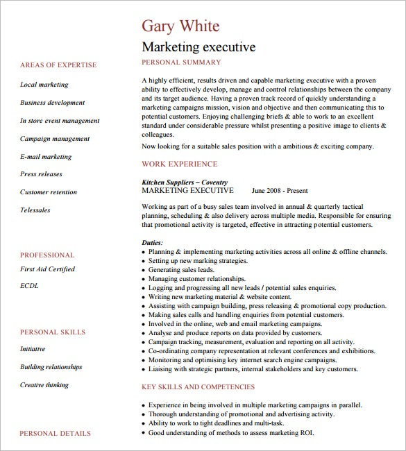 Marketing Executive Resume Example. Download