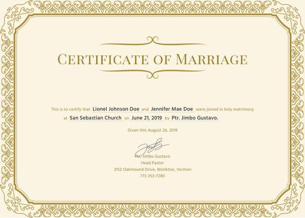 Marriage Certificate Template   Word Pdf Psd Format Download