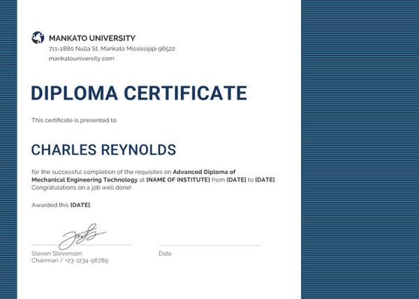 mechanical diploma certificate template