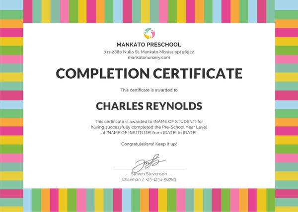 Printable Award Certificates For Pre K Writings And Essays