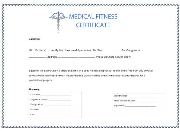 Printable certificate template 46 adobe illustrator documents medical certification for sickness absence yadclub Gallery