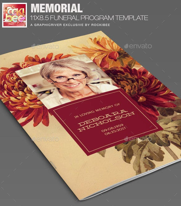memorial funeral program template photoshop design