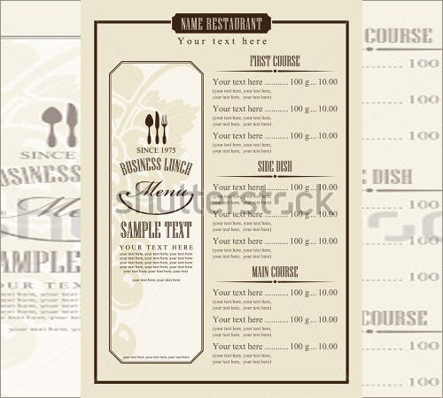 menu template with chefs hat