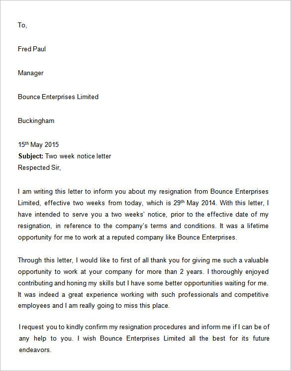 microsoft work two weeks notice letter example. Resume Example. Resume CV Cover Letter