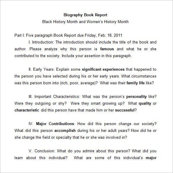 middle school biography book report template