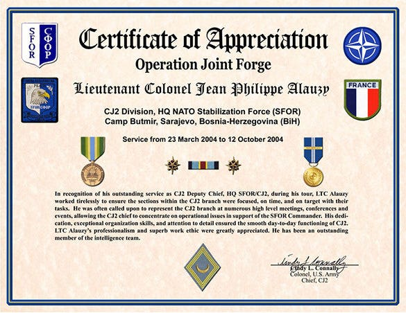 Military Certificate Of Appreciation Free Download