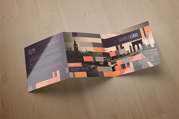 minimal square trifold modern brochure for 10