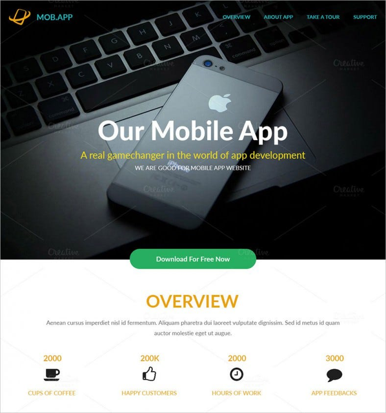 mobapp app landing page template 788x843