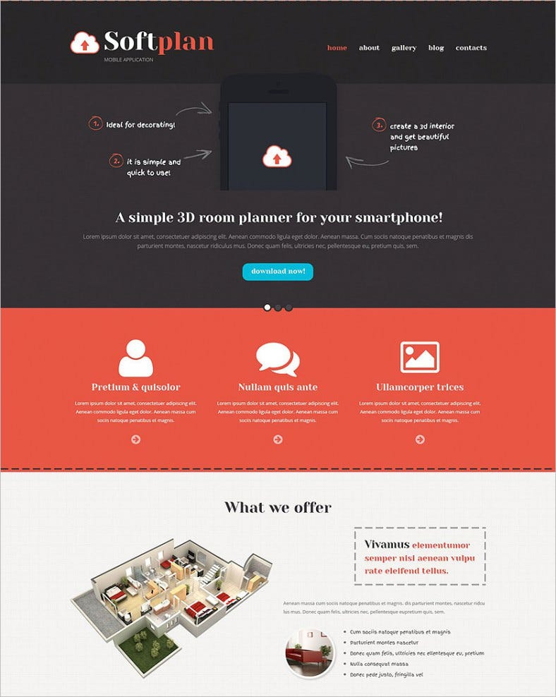mobile apps promotion wordpress theme 788x988