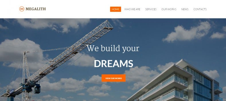Mobile Friendly WordPress Template for Construction