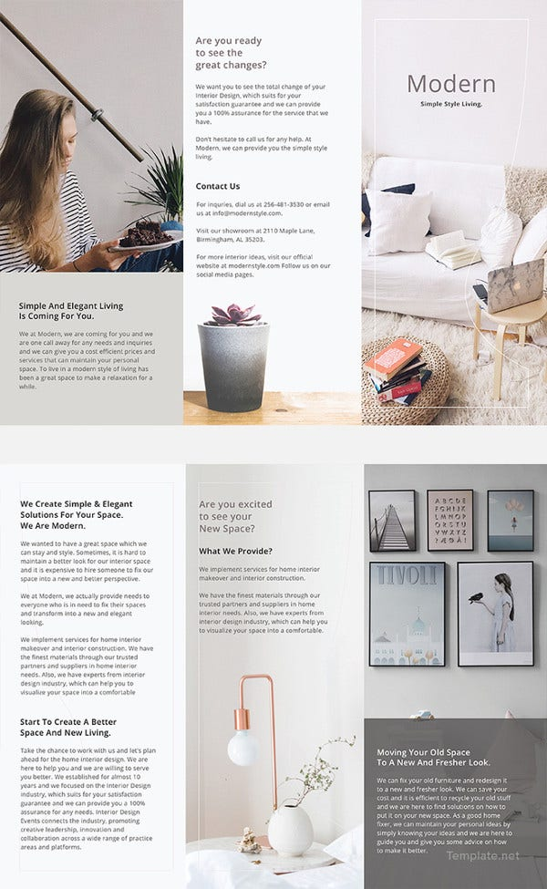 Modern Brochure Design Templates PSD InDesign Illustration - Basic brochure template