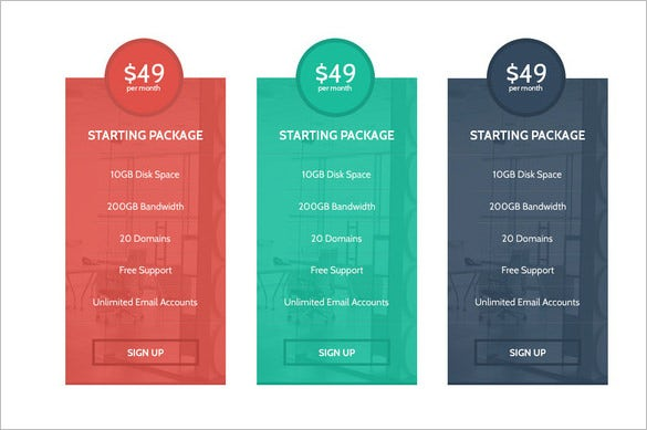 modern psd pricing table template 4