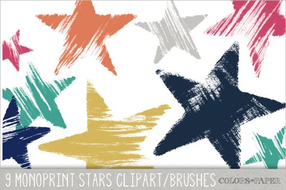 monoprint stars brushes handmade 8