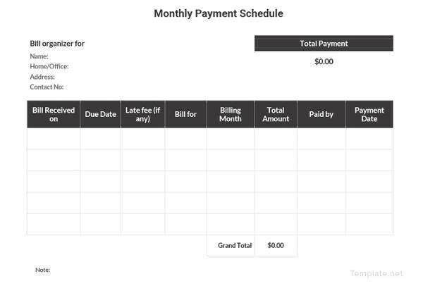 payment schedule template 16 free sample example format download