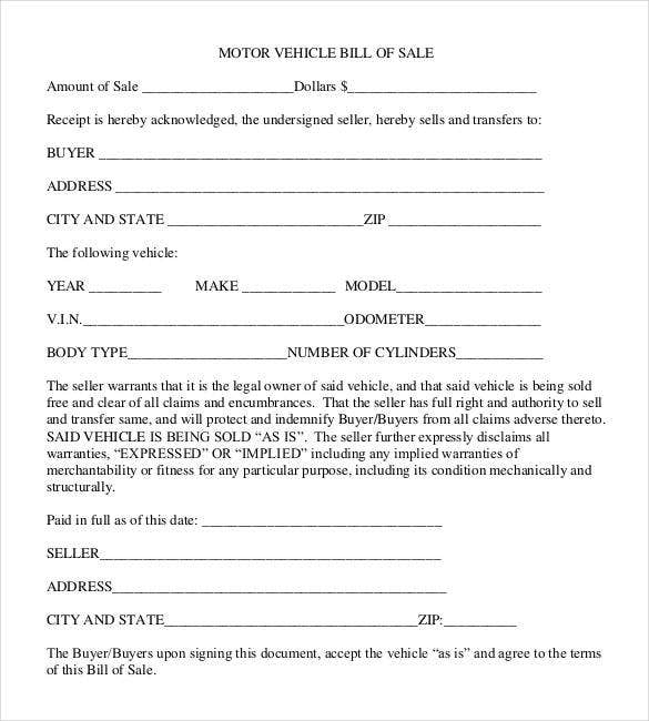 Deed of sle for motor vehicle for Nh motor vehicle bill of sale template